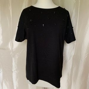 J. Crew Black Top with Beads-NWT